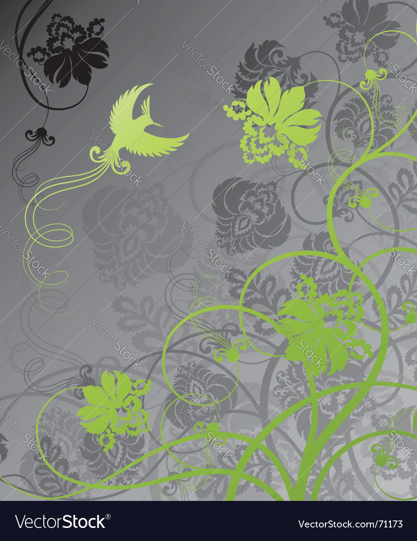 Floral background with bird vector