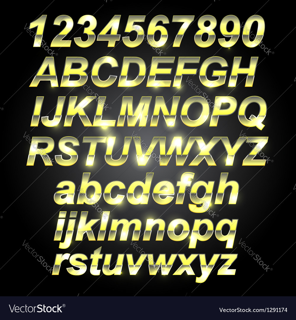 Gold metal font letters vector