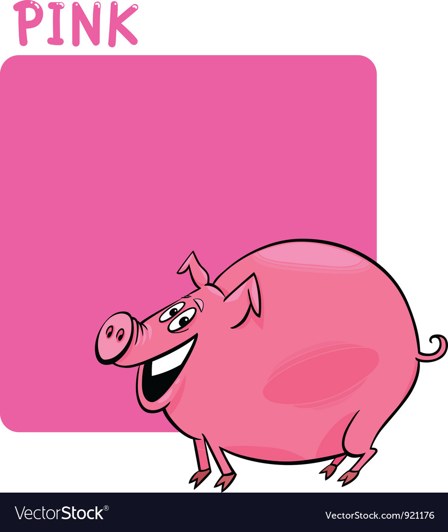 Color pink and pig cartoon vector