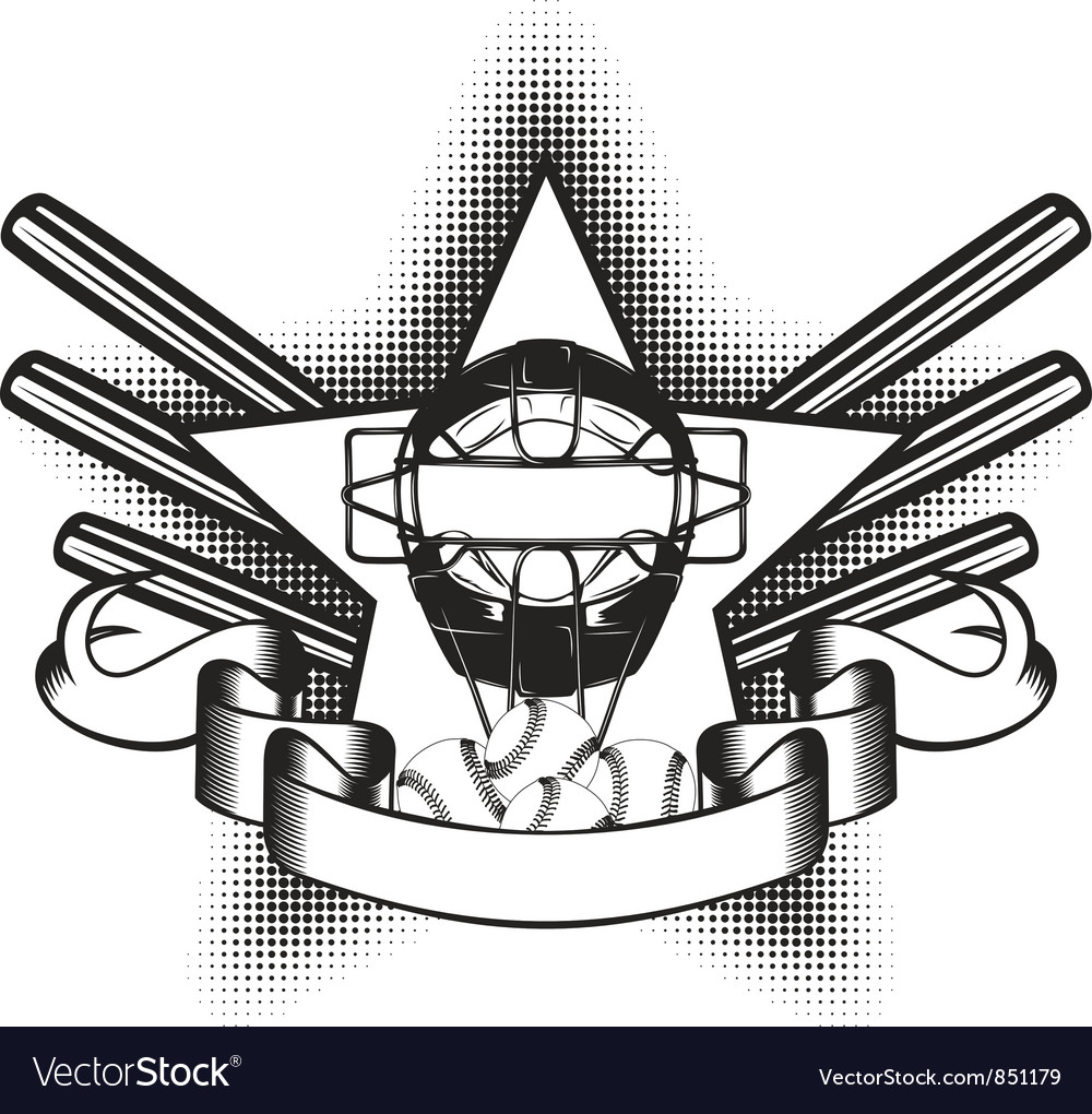 Baseball mask in star vector