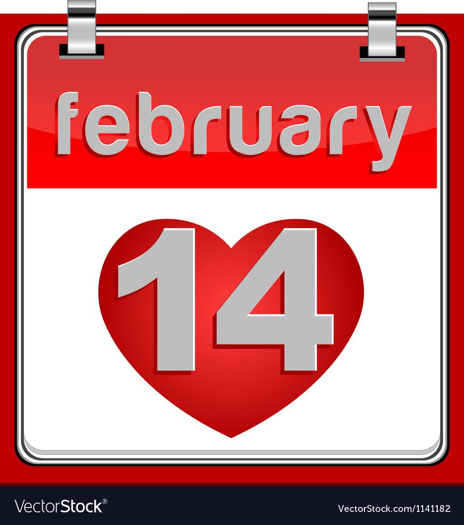 14 february calendar metallic vector