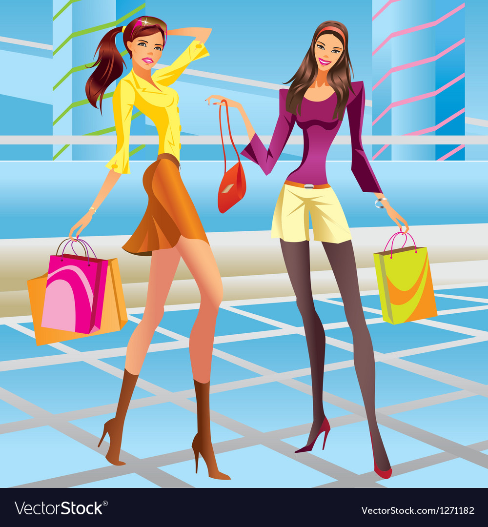 Fashion shopping girls in the mall vector