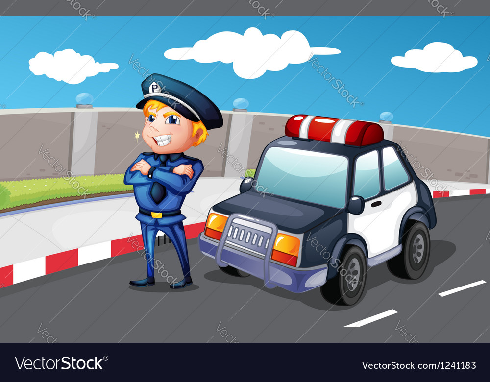 A smiling police officer at the street vector