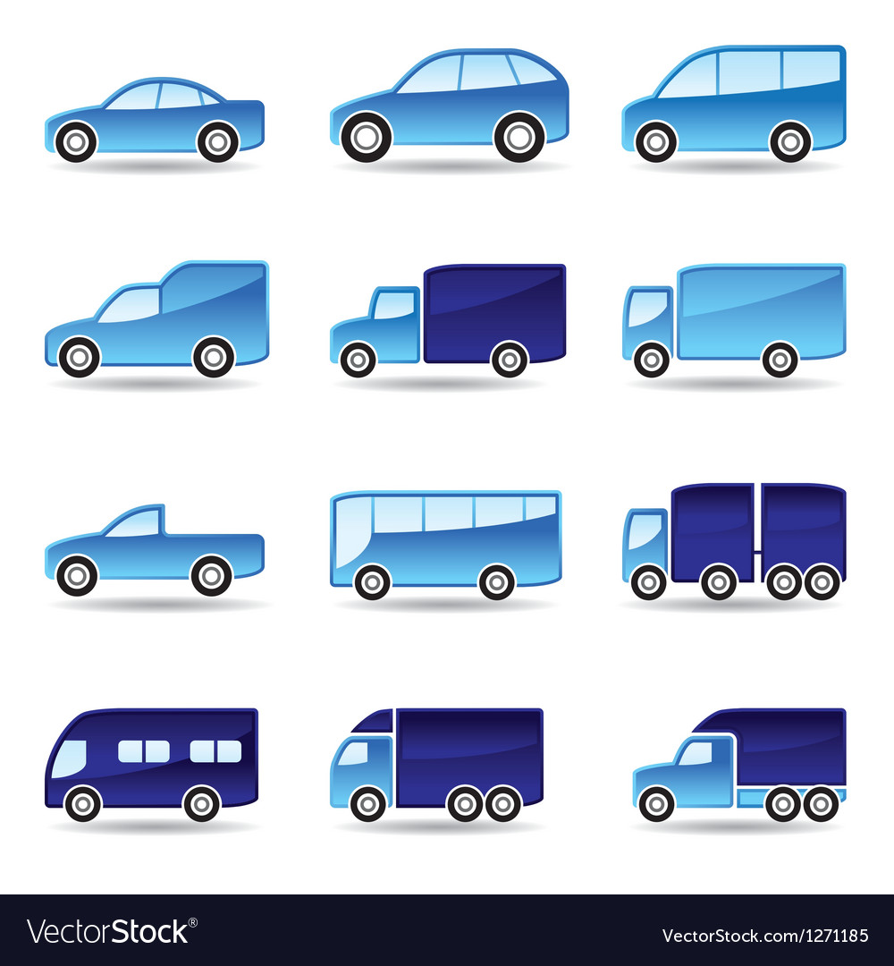 Road transport icon set vector
