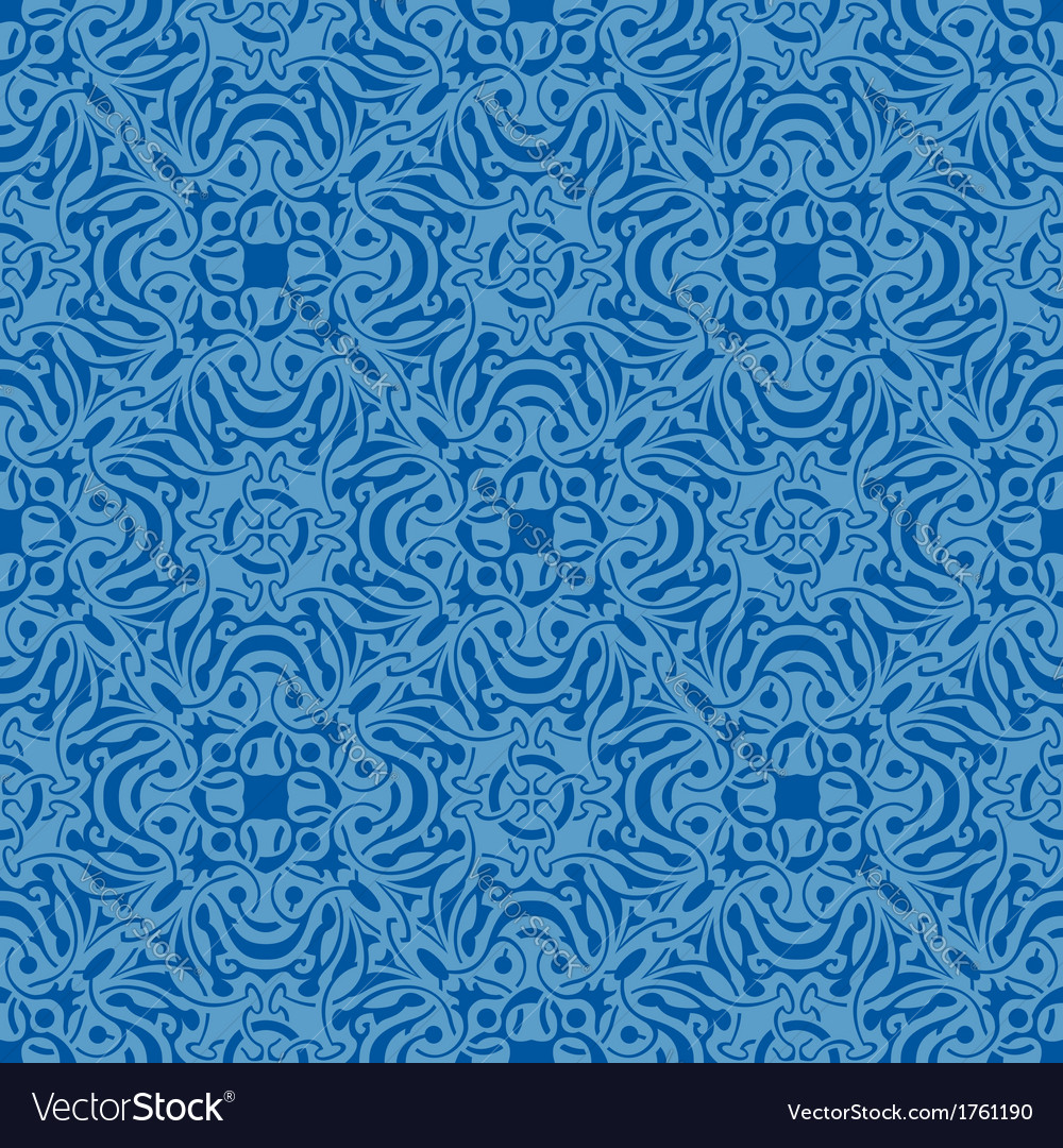 Blue floral seamless wallpaper pattern vector