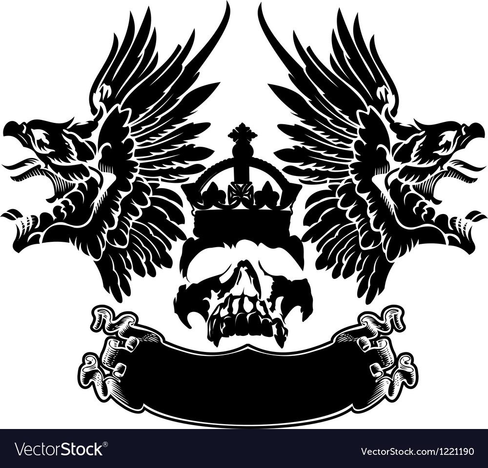 One color eagle wings skull symbol emblem vector