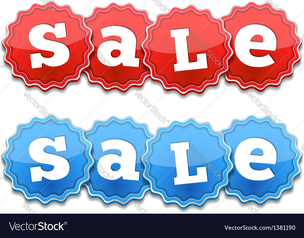 Red and blue sale tags vector