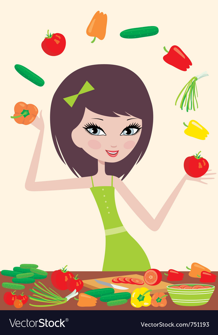 Pretty girl prepares salad vector