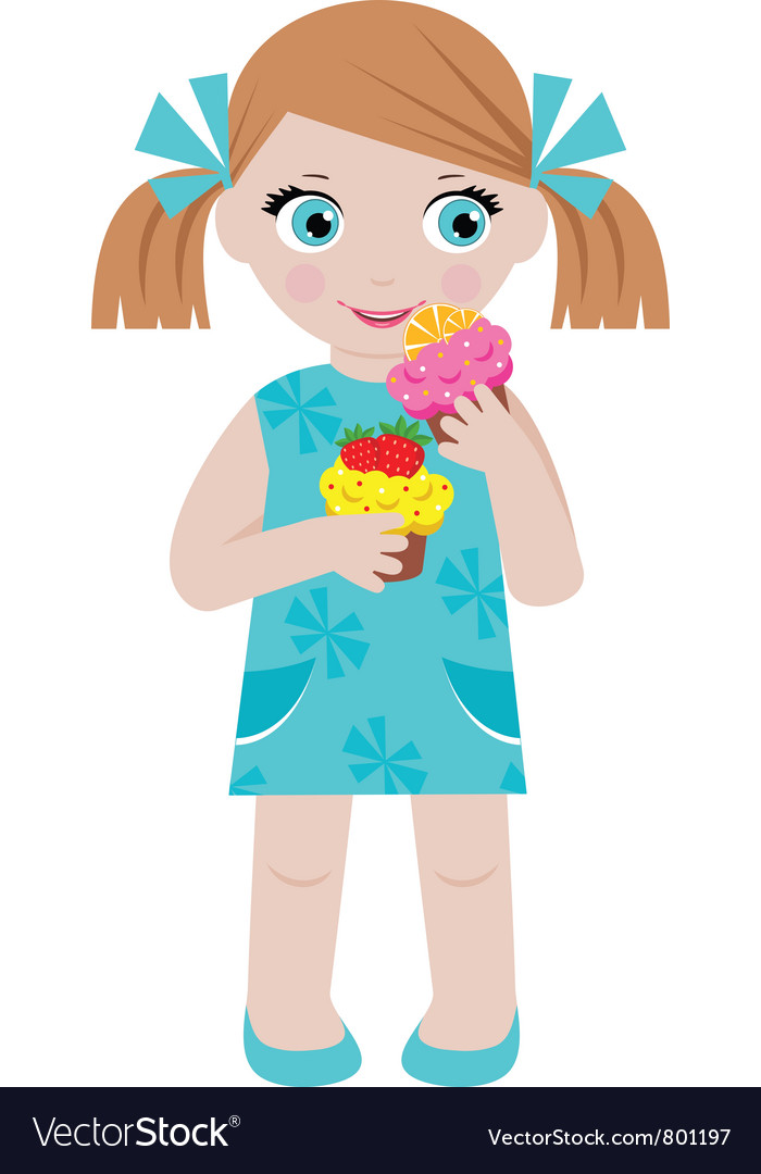 Girl with cupcakes vector