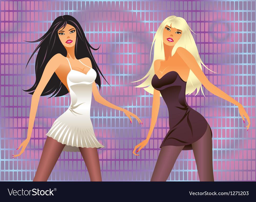 Dancing girls in a laser light show vector