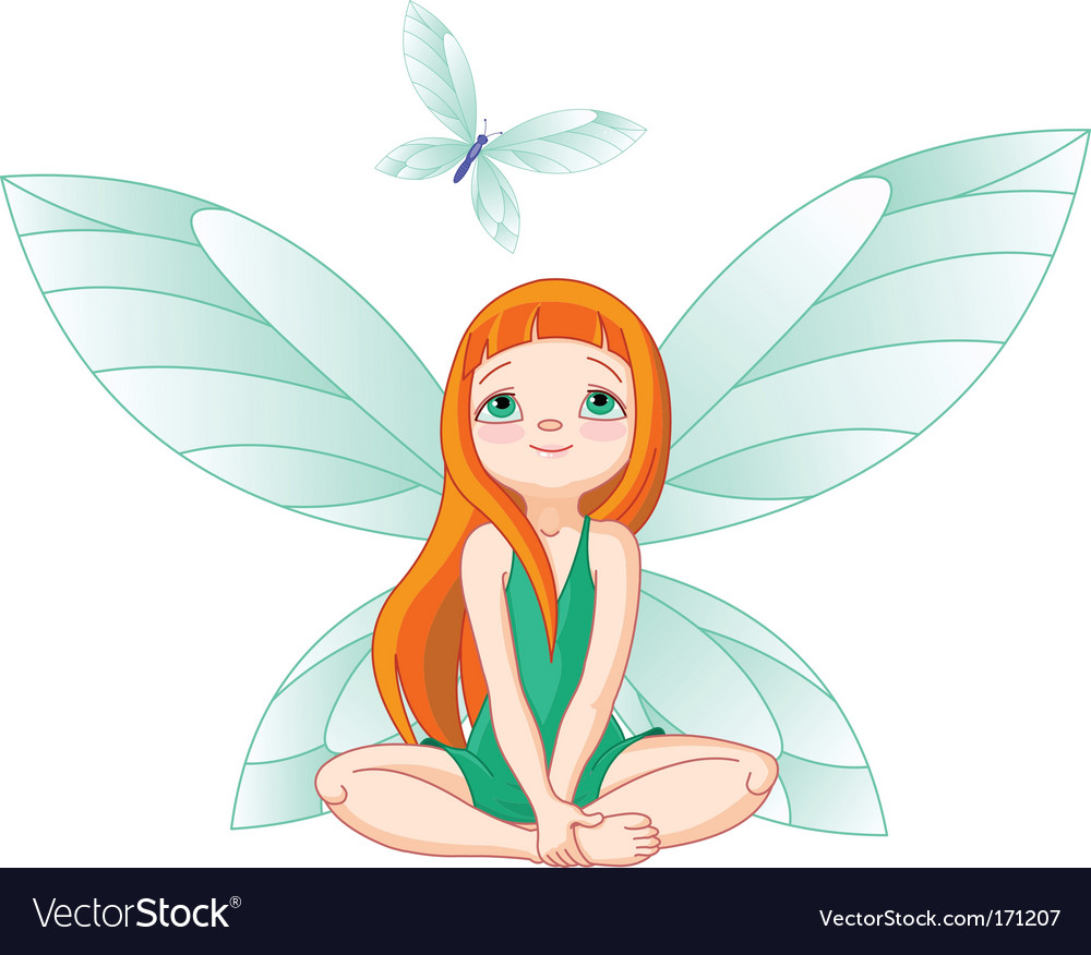 Fairy observes for flying butterfly vector