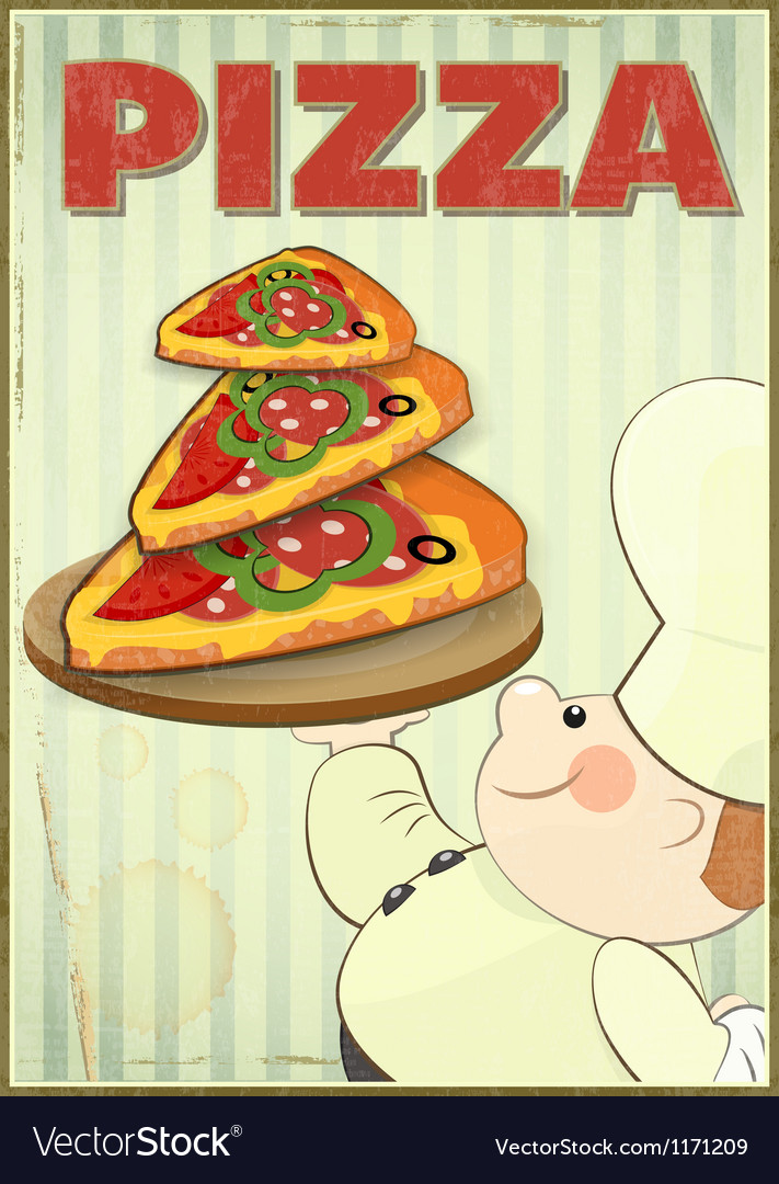 Pizza and chef vector