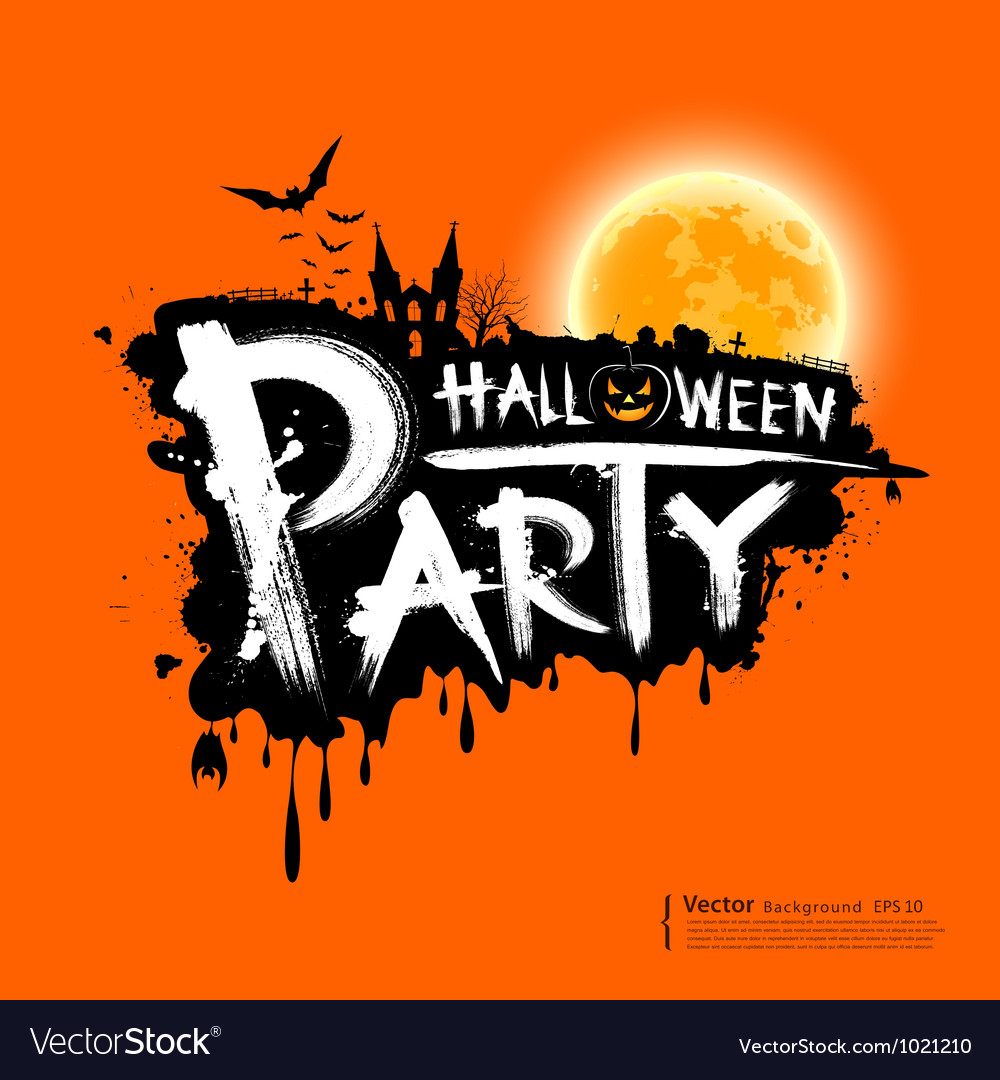 Happy halloween party text design vector