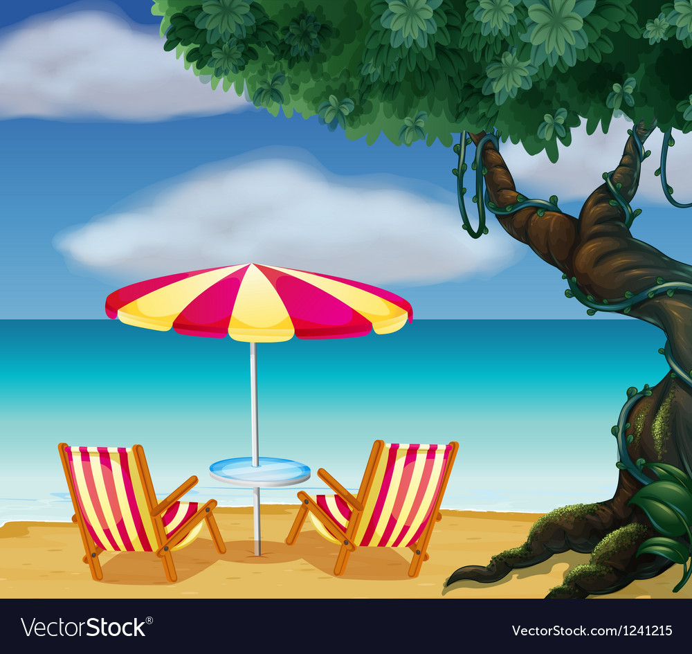 The stripe beach umbrella and the two chairs vector