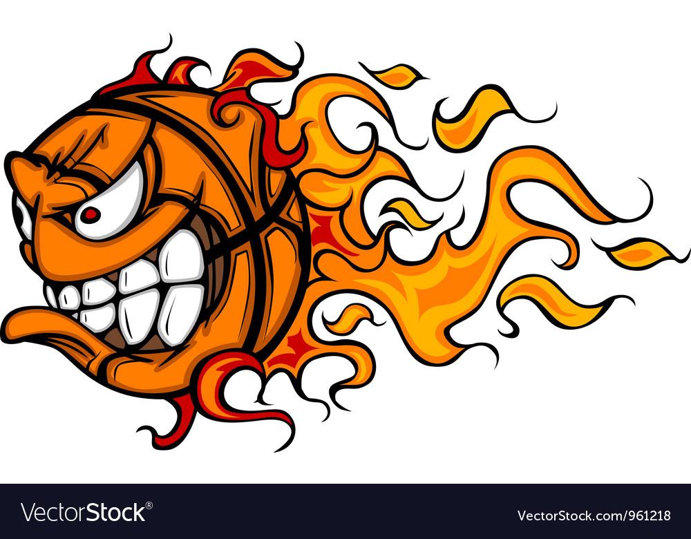 Flaming basketball face cartoon vector