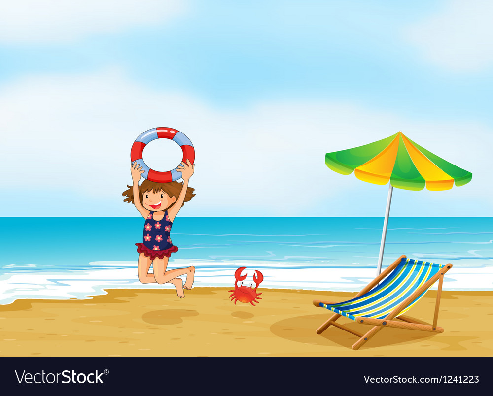 A girl playing at the shore vector