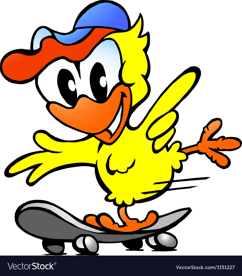 Hand-drawn of an cute baby chicken on skateboard vector