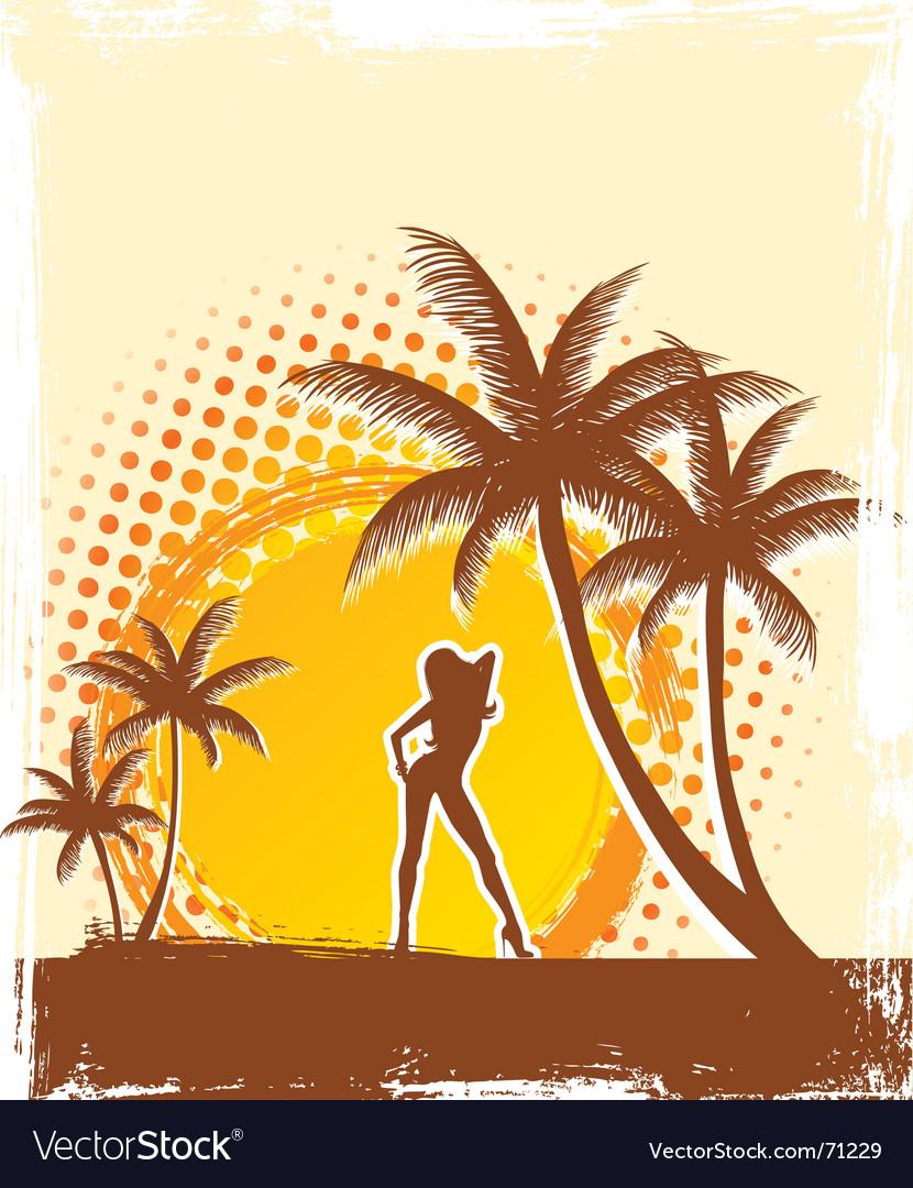 Palm sun vector