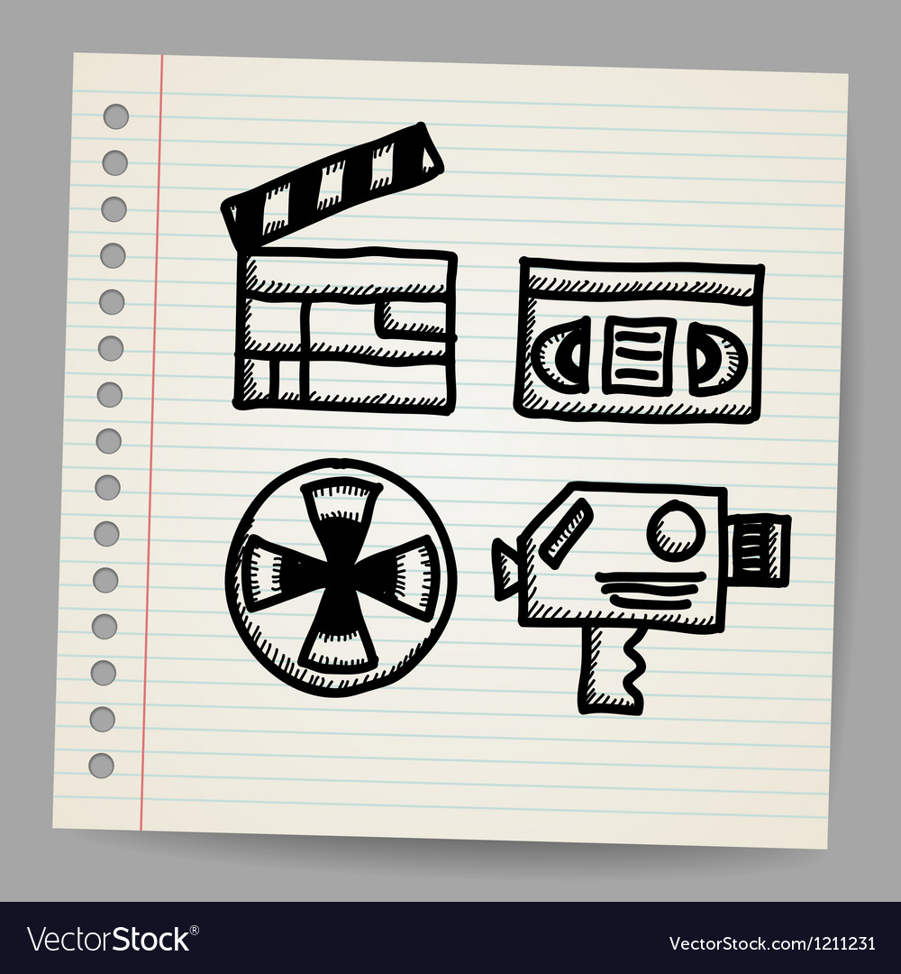 Black movie icon doodle set vector