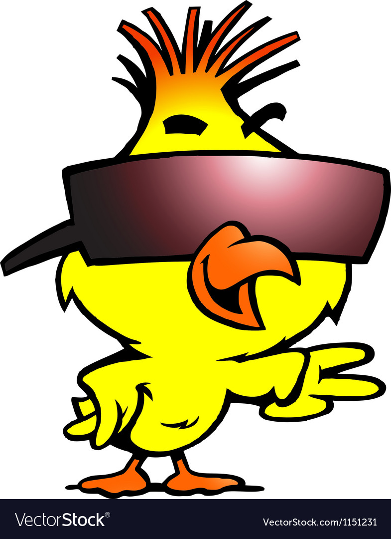 Handdrawn of an smart chicken with cool sunglass vector