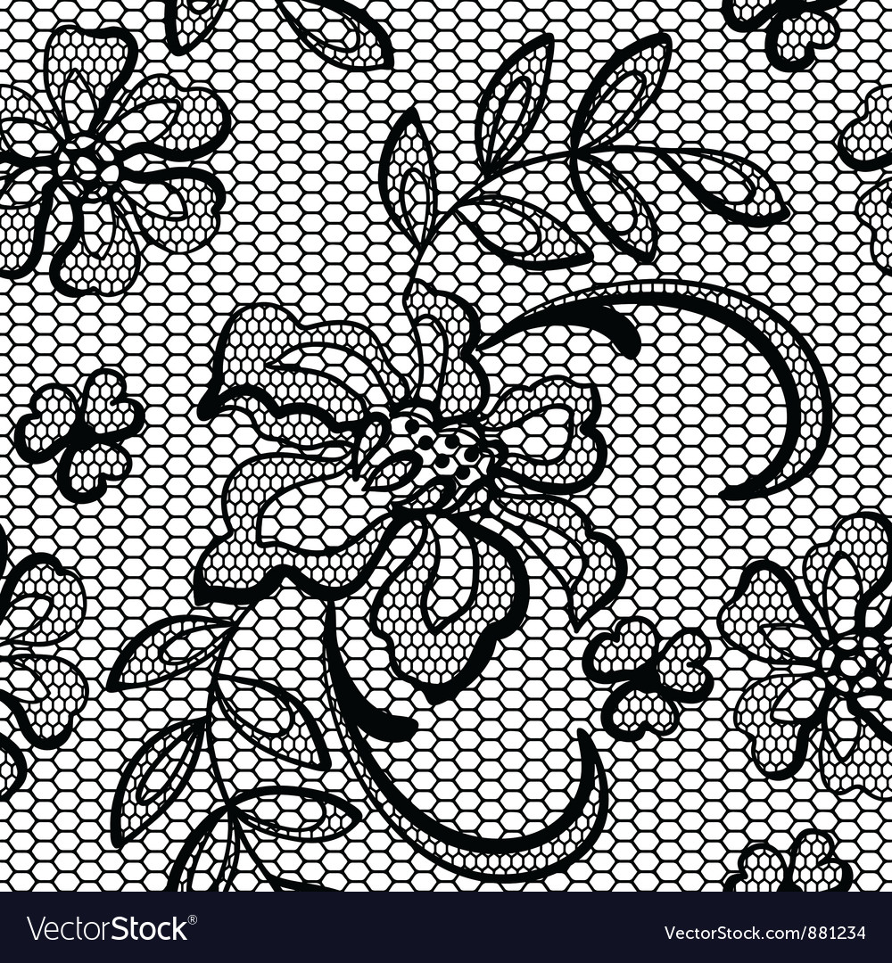 Old lace background ornamental flowers texture vector