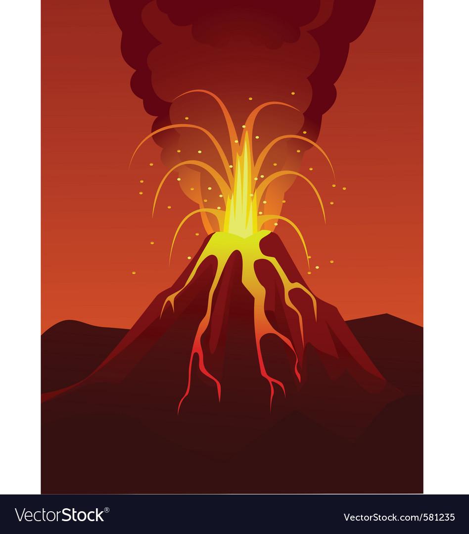 Volcano poster vector