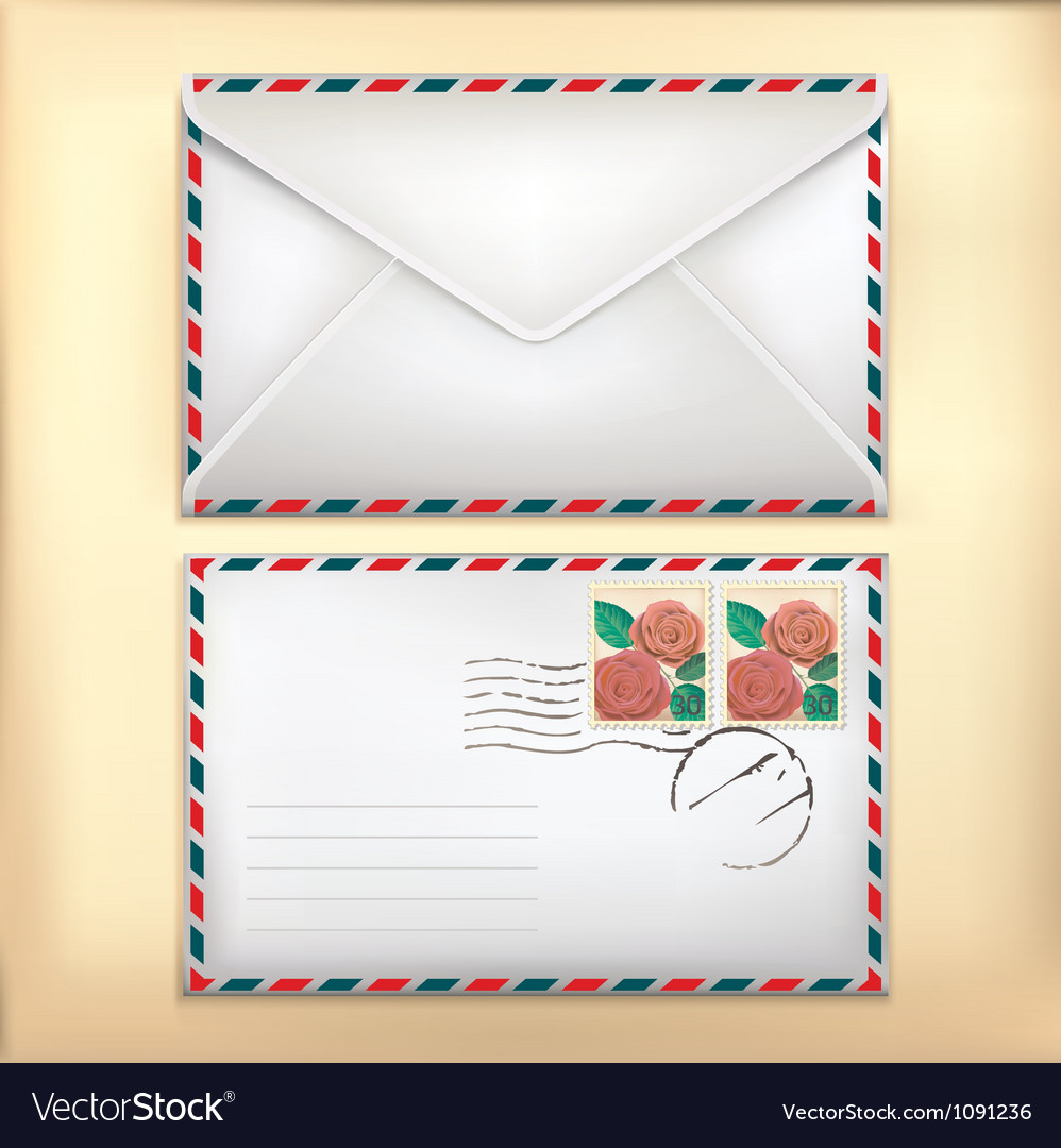 White envelop with rose stamp vector