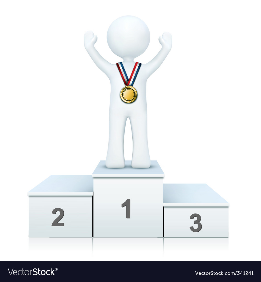 3d person on winning podium vector