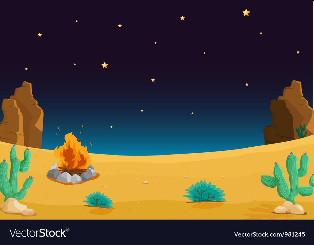 Night time desert vector