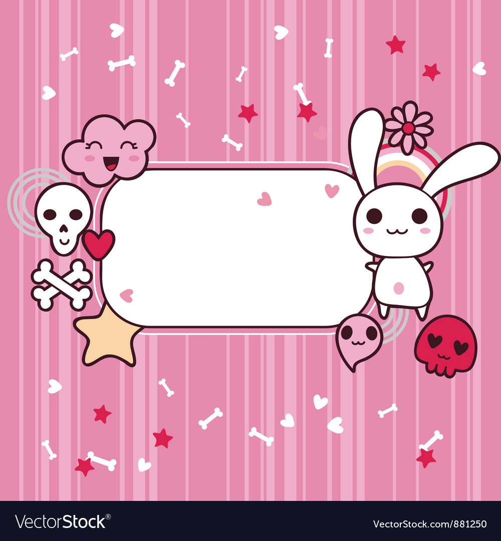 Funny background with doodle kawaii vector