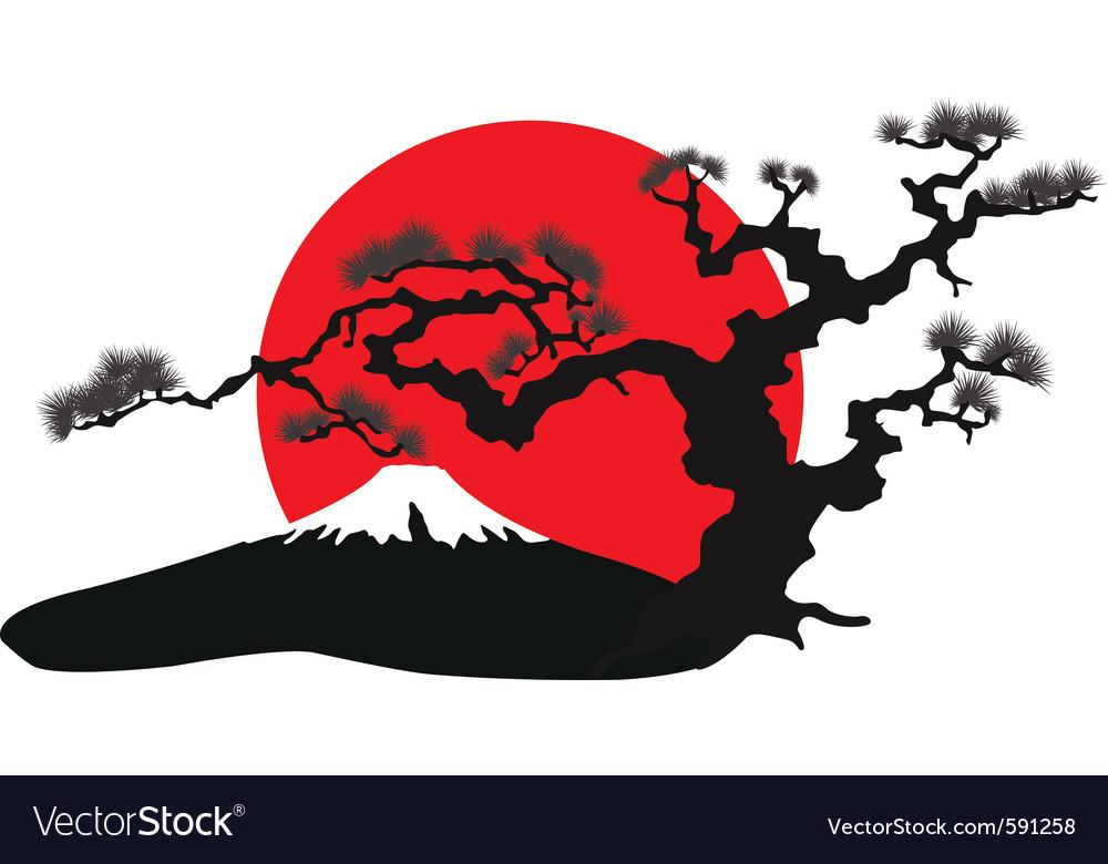 Japanese landscape silhouette vector