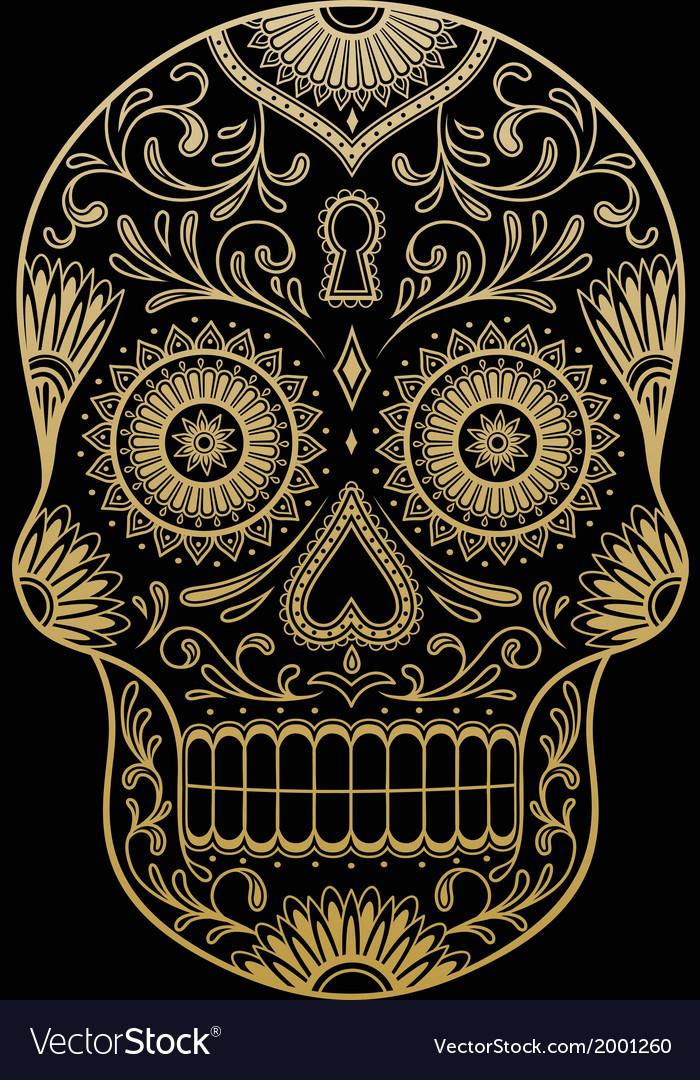 Ornate one color sugar skull vector