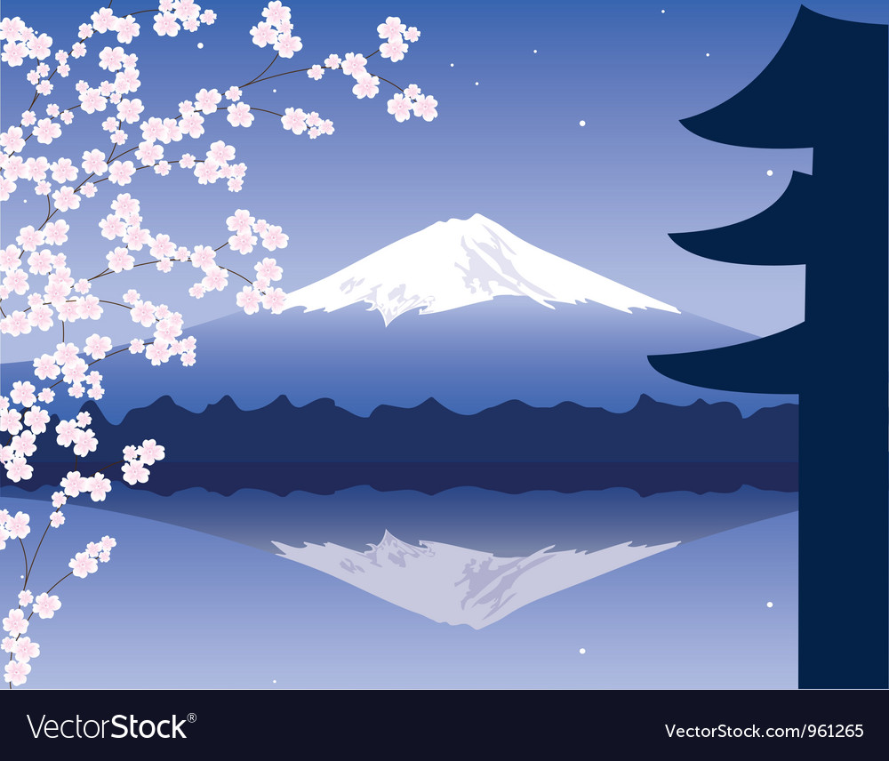 Mount fuji and sakura vector