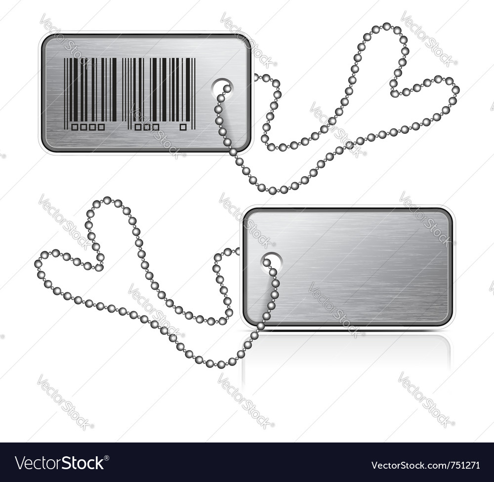 Metallic tag and chain vector