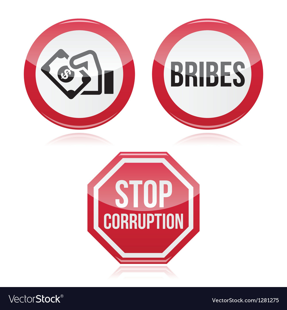 No bribes sto corruption red warning sign vector