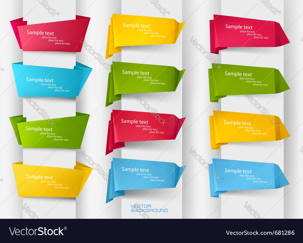 Origami paper banners vector