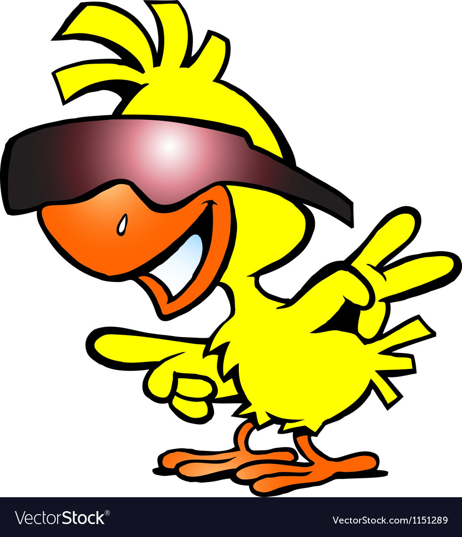 Hand-drawn of an smart chicken with sunglass vector