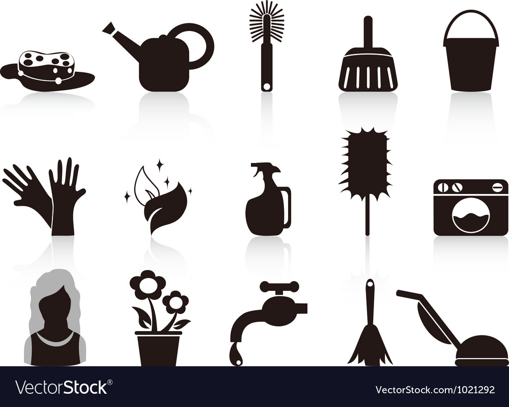 Black household icons vector