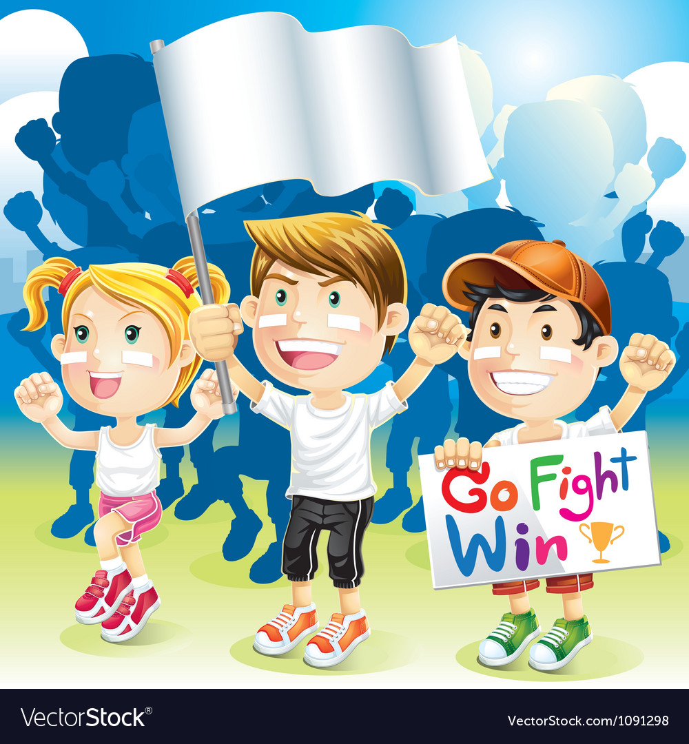 Group kids cheering with flag vector