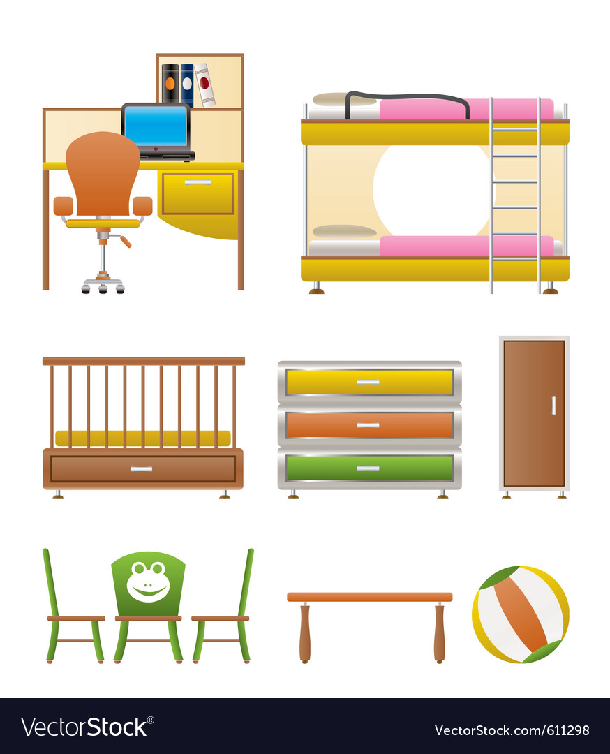 Nursery and children furniture vector