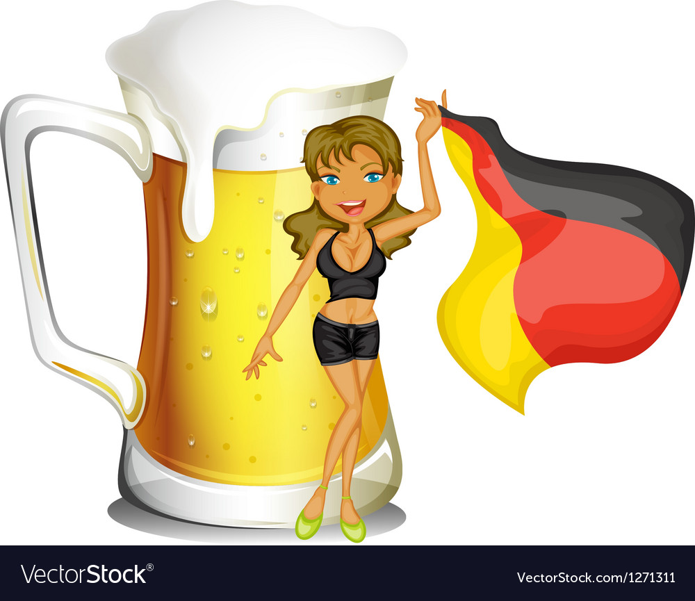 A big mug of beer at the back of a lady holding vector