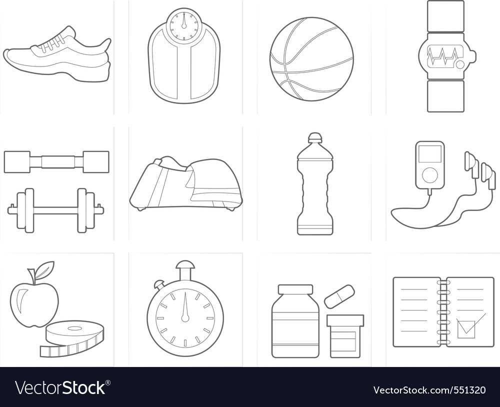 Fitness and health club equipm vector