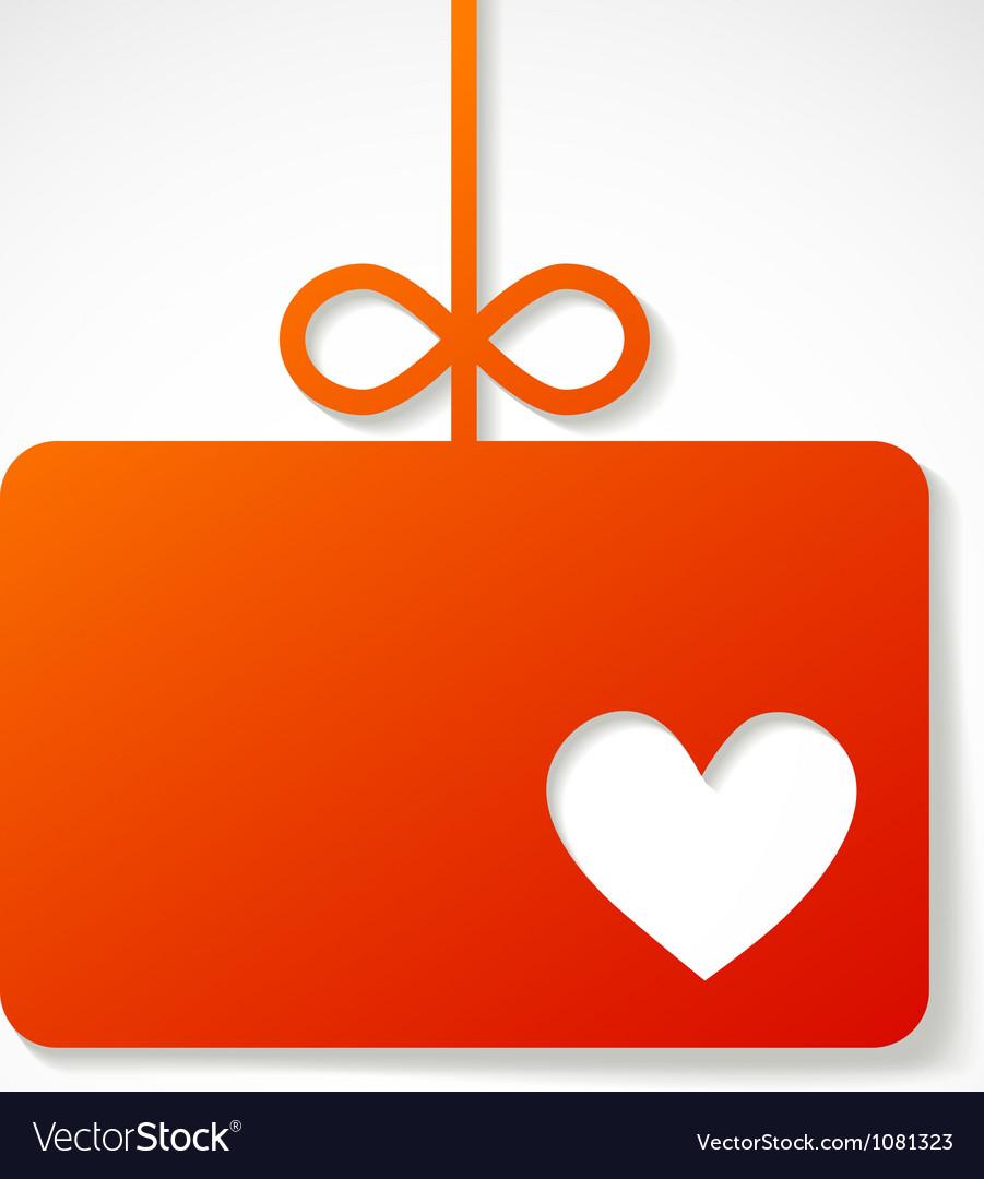 Orange paper banner by valentins holiday vector