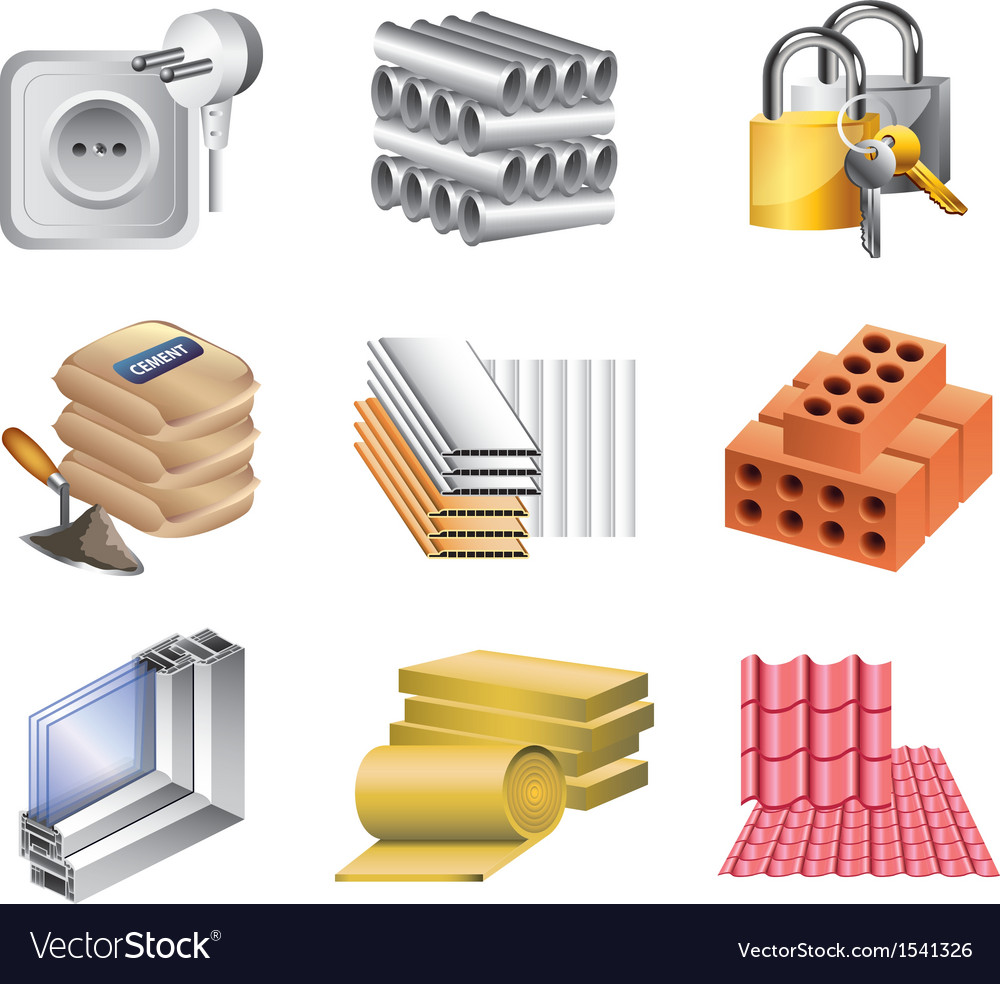 Icons buildingmaket materials vector