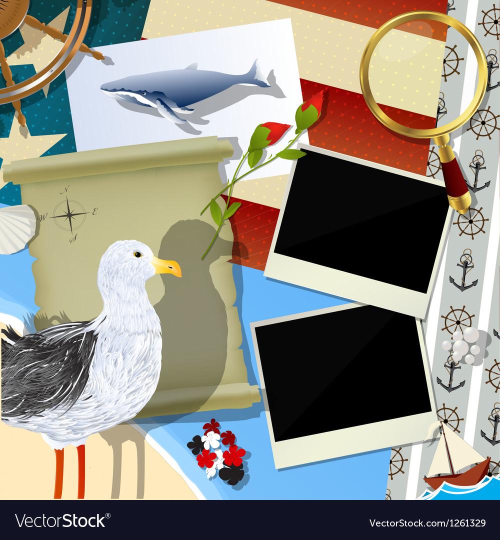 Sailor scrapbook design vector