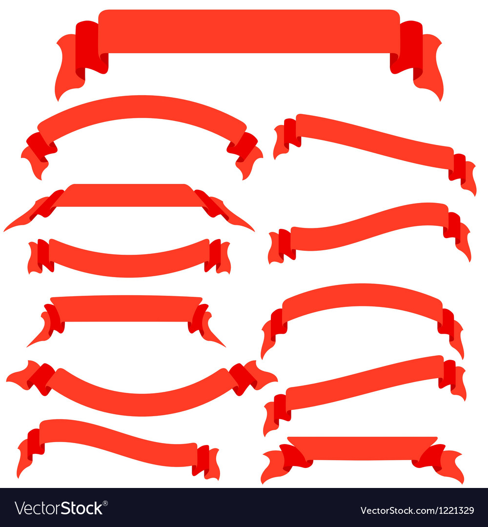 Set red ribbons and banners vector
