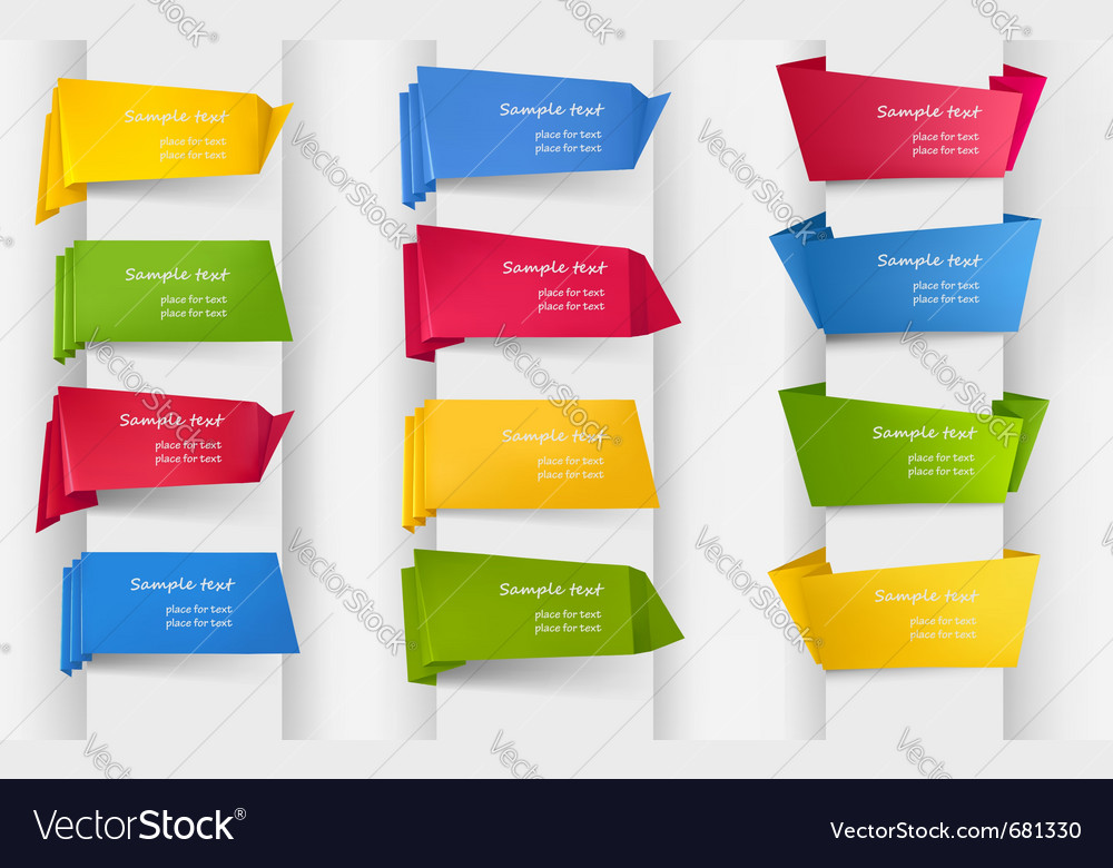 Set of origami stickers and banners vector