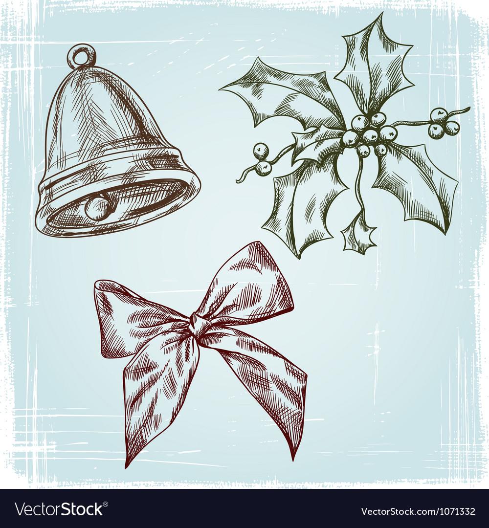 Christmas and new year holidays hand drawn set vector