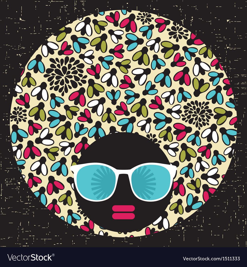 Black head woman with strange pattern hair vector