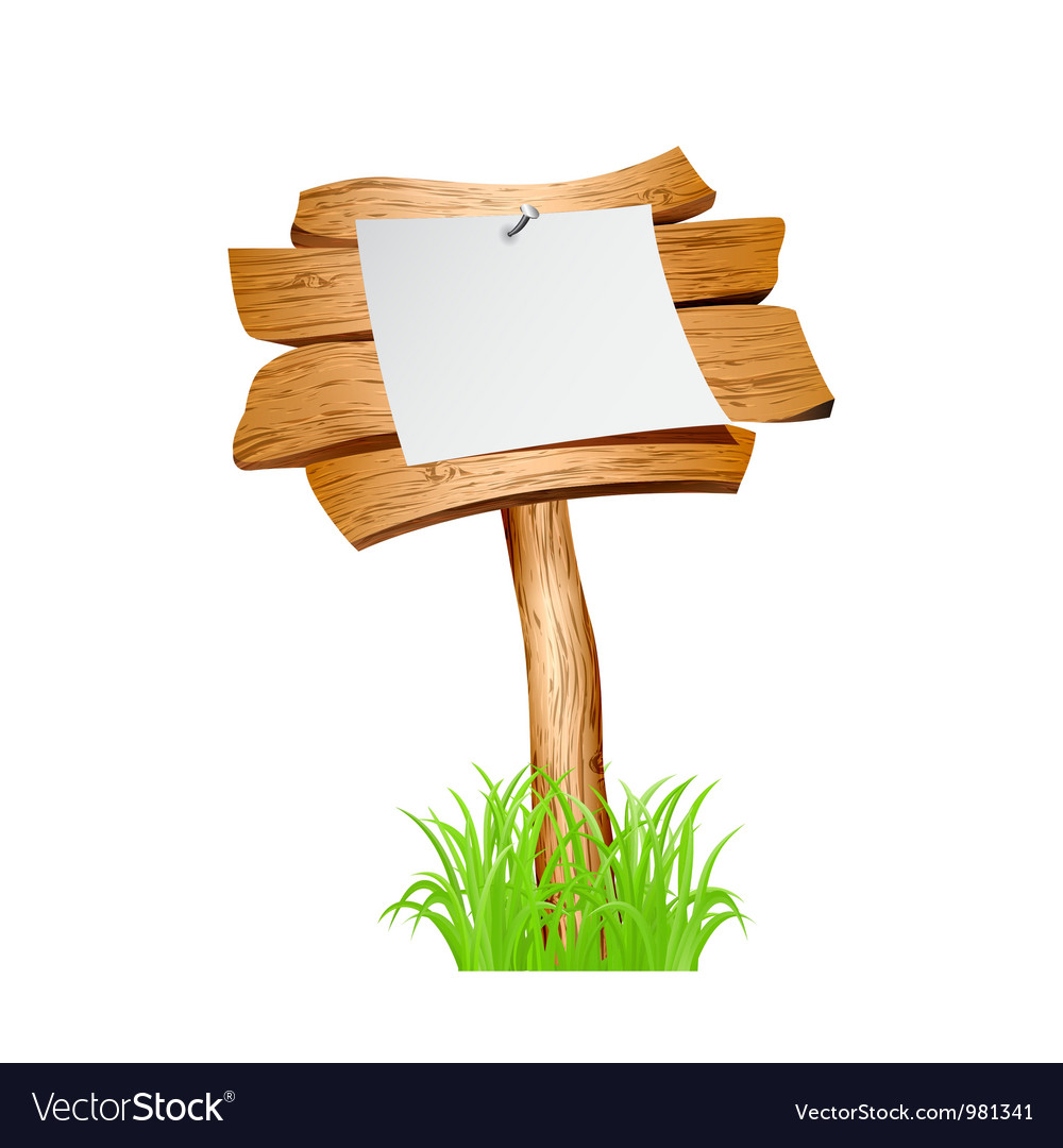 Wooden sign in grass vector